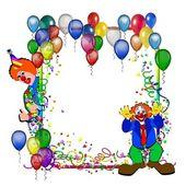 Birthday realistisch achtergrond met clown — Stockfoto