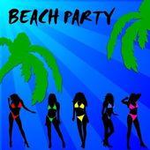 Beach party bikini girls background — Stock Photo