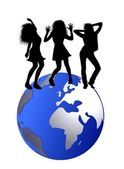 Dancing on the globe — Stock Photo
