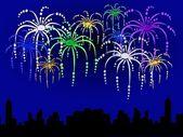 Bakgrund med fireworks — Stockfoto