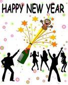 新的一年背景的香槟 — 图库照片