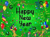 Colorful happy new year background green — 图库照片