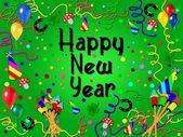 Kleurrijke gelukkig nieuwjaar achtergrond groen — Stockfoto