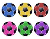 изолированные цветные футбольных мячей — Стоковое фото