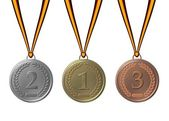 Sports medals silver gold bronze — Stock Photo