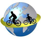 在世界各地骑自行车 — 图库照片