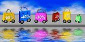 Borse per la spesa con sconti — Foto Stock