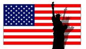 Stars & Stripes Banner Lady Liberty — Stock Photo