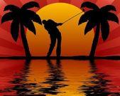 Golfer in sunset — Stock Photo