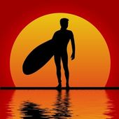 Surfer in sunset — Stock Photo