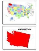 Mapa de estado de Estados Unidos washington — Foto de Stock