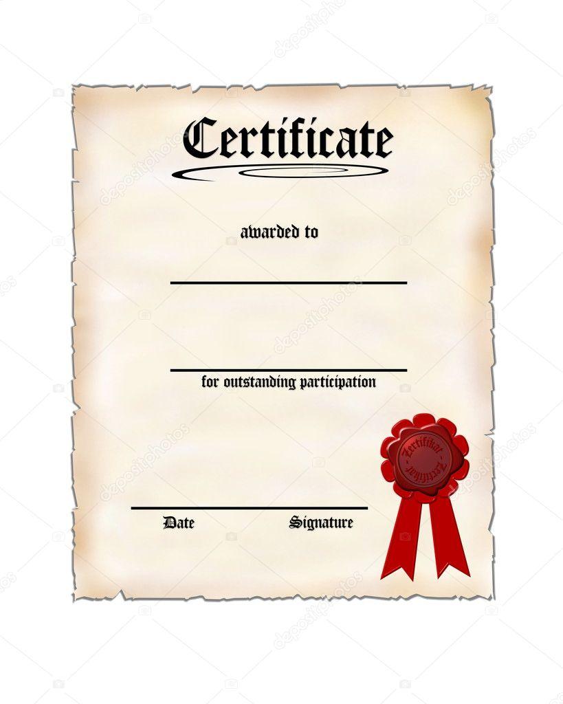 blank certificate.