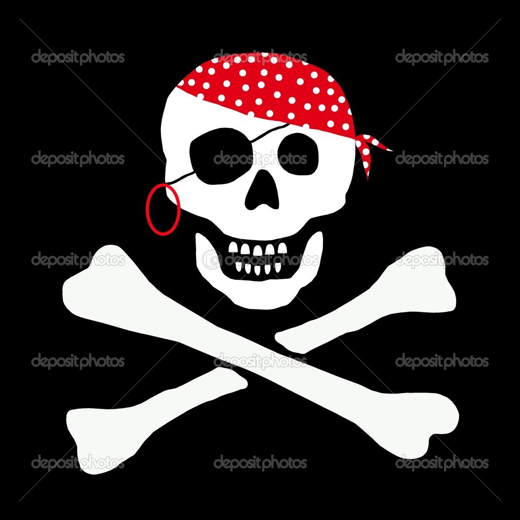 Skull and Bones Pirate Flag — Stock Photo #1765385
