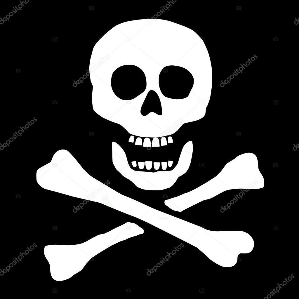 Skull and Bones Pirate Flag - Stock Image