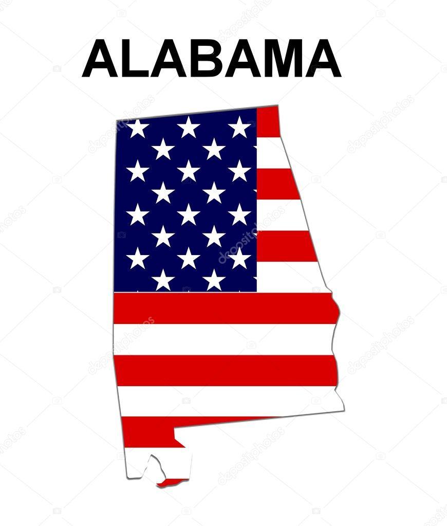 USA State Map Alabama  Stock Photo - Map usa alabama