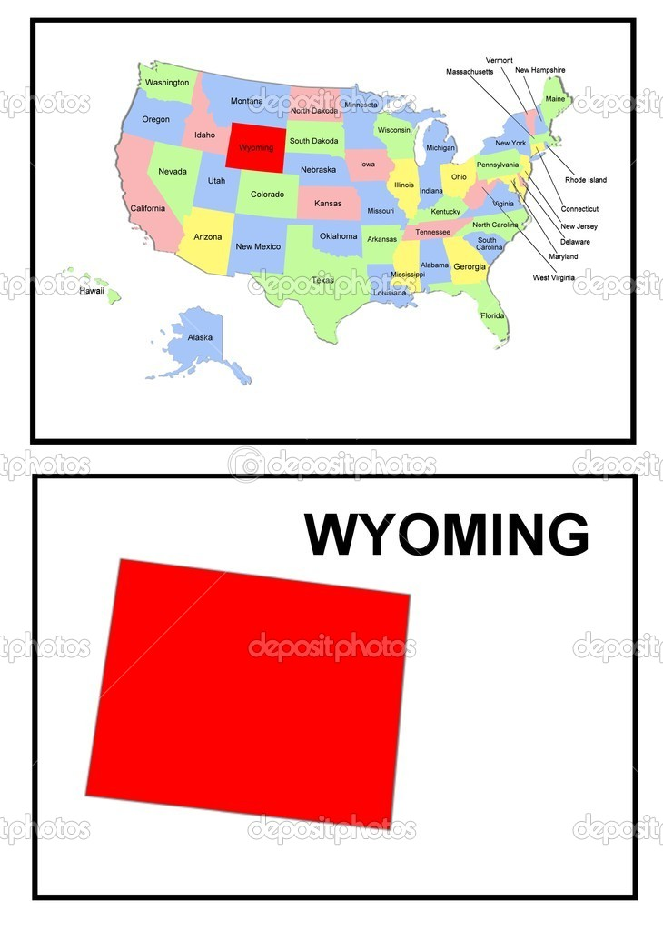 USA Staat Kaart Wyoming  Stockfoto  Pdesign 1768605