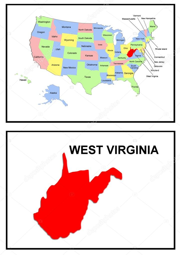 USA State Map West Virginia  Stock Photo  Pdesign 1768684