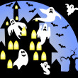 Scary halloween house background — Stock Photo