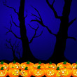 Halloween pumpkins background blue — Stock Photo #1779323