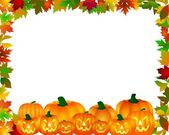 Halloween Frame with pumpkins — Stockfoto