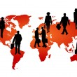 Stock Photo: Global business on world map