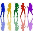 Stock Photo: Sexy girls silhouettes colored