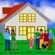 Family in front of a house — Foto Stock