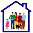 Family in a house — Stock Photo
