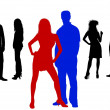 Colored young silhouettes - Stock Photo