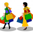 Stock Photo: Women with shopping bags