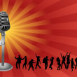 Dancing with microphone — Stock Photo