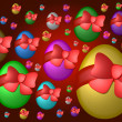 Colored easter eggs background red - Stock Photo