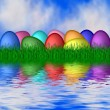 Easter eggs reflecting in water — Stock Photo #1784768