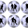 Soccer balls with silhouettes of players — Stock Photo