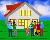 Rodina před dům — Stock fotografie