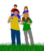 Young family outdoors — Stock Photo
