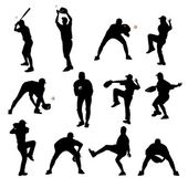Silhouettes of baseball players — Stock Photo
