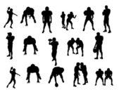Silhouetten van voetballers — Stockfoto