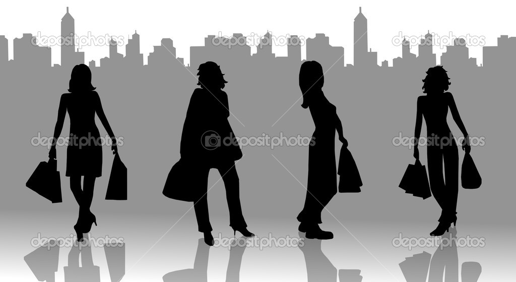 Women Silhouettes on shopping tour  Stock Photo #1780878