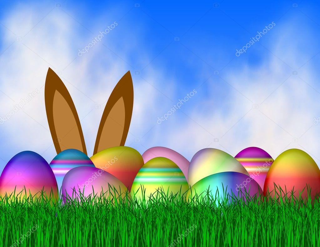 Easter bunny with eggs — Stock Photo #1784738