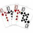 Poker Hand Quads tens — Stock Photo