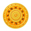 Zodiac Disc gold — Stock Photo