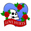 Love Hurts Skull in blue heart — Stock Photo #1829710