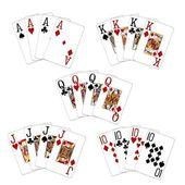 Poker hand vierling gruppe — Stockfoto