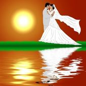 Wedding Couple in sunset Background — Stock Photo