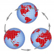 Globe all continents — Stock Photo