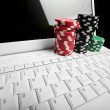 Concept - online poker — Stock Photo