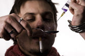 Addict met heroïne dosis — Stockfoto