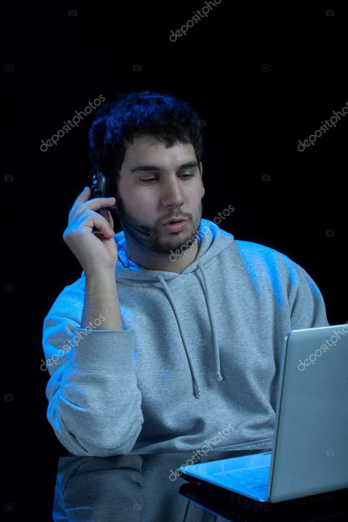 Man speaking over internet phone. Voip online support — Stock Photo #1659377