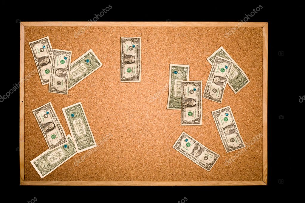 Many One dollar bills on a cork board with copy space. Money concept — Stock Photo #1673637